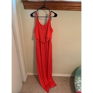 Coral tribal Charming Charlie maxi dress